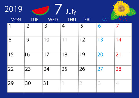 July calendar border