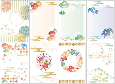Japon Yeni Yıl kartları için şablon koleksiyonu