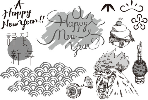 Hand drawn New Year material monochrome