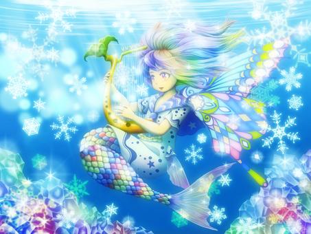 Mermaid of the snowy sky