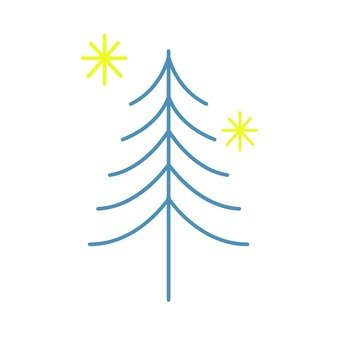 Scandinavian tree (blue, line)