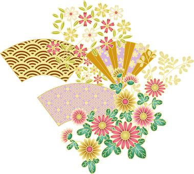 ai Japanese style chrysanthemum and fan set
