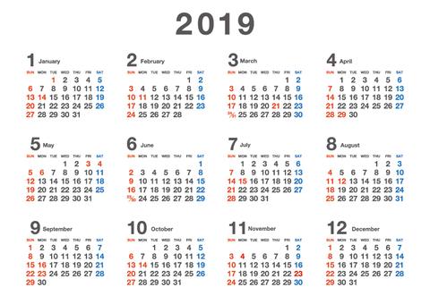 2019 Calendar Sunday Beginning A4 02