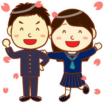 "School run and sailor uniform (cherry blossom version) ""Blue"