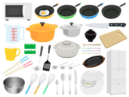 Convenient Kitchen Collectibles Illustration Set