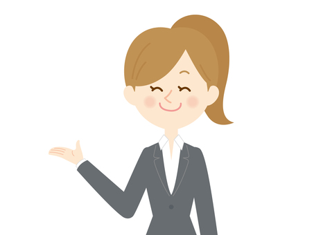 Bust up of a smiling woman who introduces at work