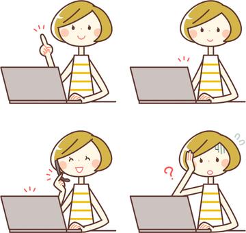 簡單的人_鮑勃頭髮的女人和電腦