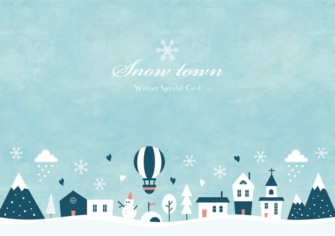 Winter background frame 012 Snow town watercolor