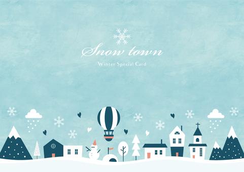 Fondo de invierno marco 012 acuarela ciudad nieve