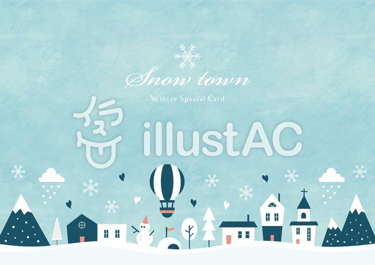 冬の背景フレーム012 雪の街 水彩のイラスト
