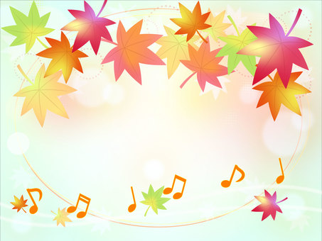 Notes and background of autumn leaves Light blue