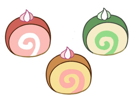 Three types of roll cake