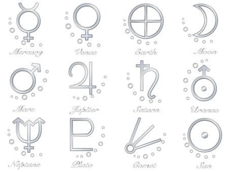 Planet symbol set_Silver