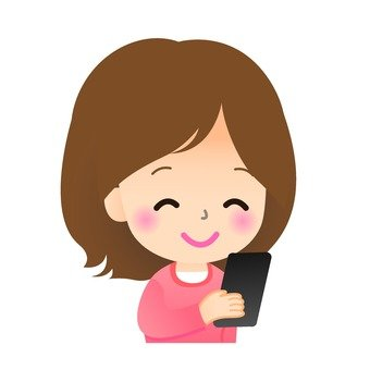 A woman looking at an email and smiling