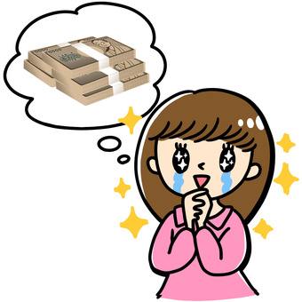 Illustration of a woman feeling tears in the image of money