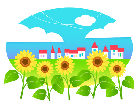Sunflower and city illustrations
