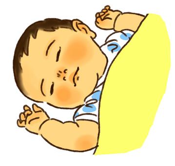 A baby sleeps pleasantly