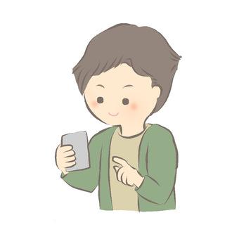 A man operating a smartphone
