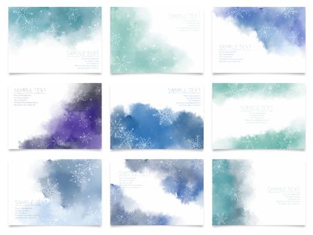 水彩-雪の結晶フレームセット