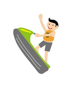 Boys playing jet skis