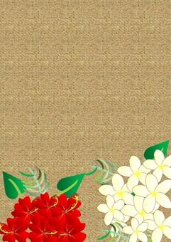 Hibiscus and plumeria (linen)