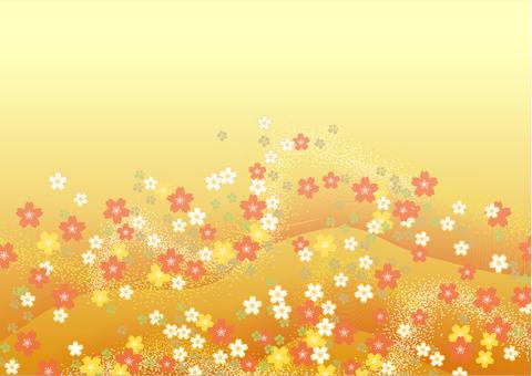 シックな和風柄 背景素材(金色)