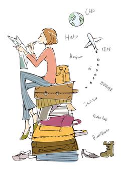 여행 계획을 세울 여성 일러스트