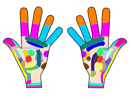 Point and reflective zone of both hands Figure 1