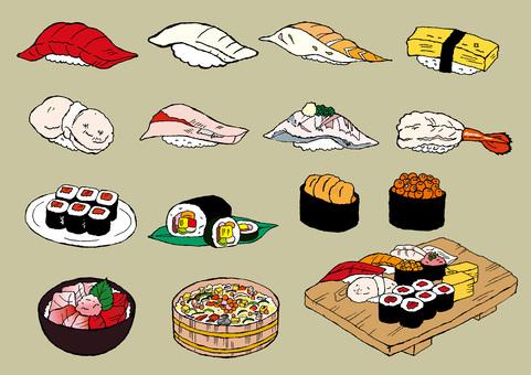 Sushi illustration material assortment