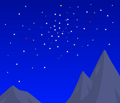 Rocky mountains and starry sky