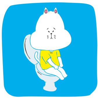 서양식 화장실에 앉아 고양이 (테두리없는)