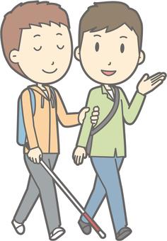 가이드 헬퍼 - 시각 장애 남성 - 전신