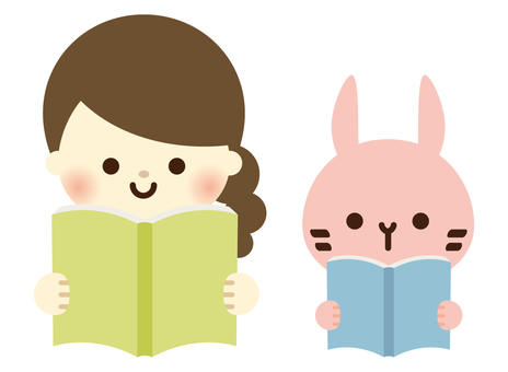 Girls and Usagi's reading time