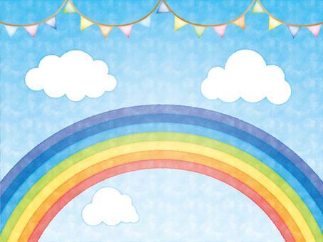 水彩彩虹和藍天