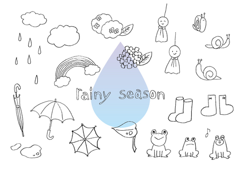 Handwritten rainy season illustration set