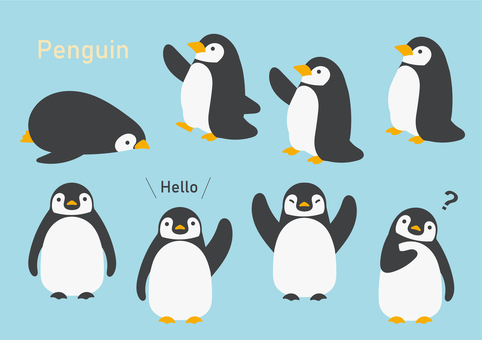 Penguin illustration material