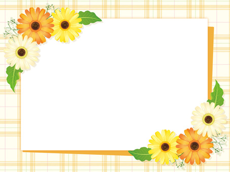 Frames of yellow-based gerbera flowers and leaves 02