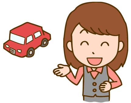 Female clerk at a car dealership