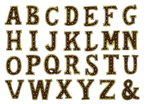 Marquee Letter Alphabet (Brown)