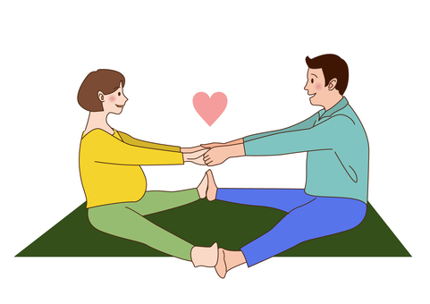Maternity yoga in a couple 1