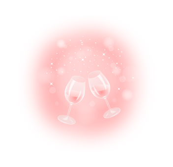 Rosé wine toast (background pink)