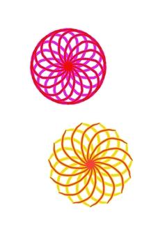 幾何圖案黃色粉紅色