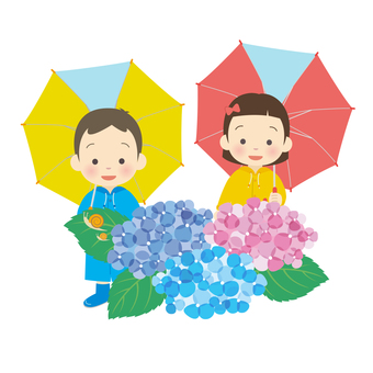Children dressed in hydrangea and kappa