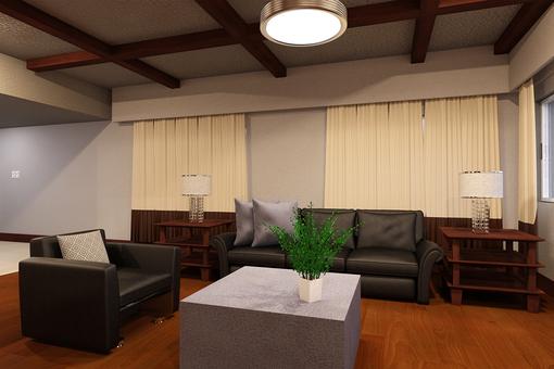 Living room scenery leather sofa
