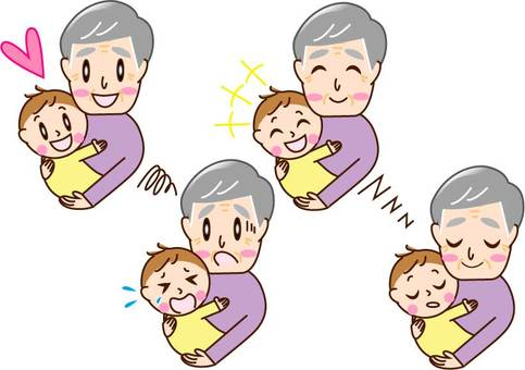 Grandpa 4 pattern to hug baby