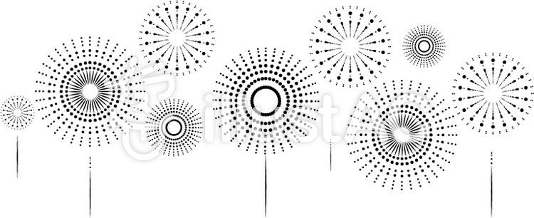 打ち上げ花火モノクロのイラスト