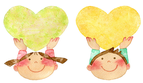 Children with hearts yellow green and yellow