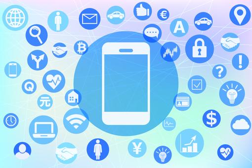 스마트 폰에 연결되는 다양한 서비스 아이콘