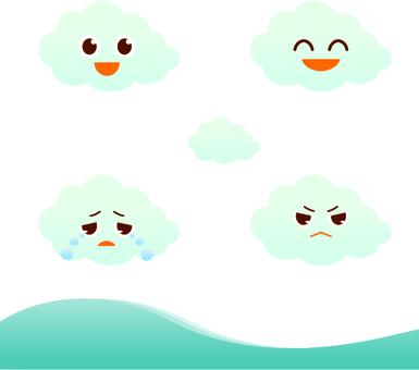 もくもく雲の可愛いキャラクターイラスト