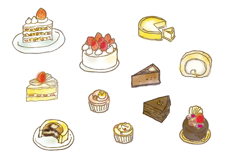A variety of watercolor cakes